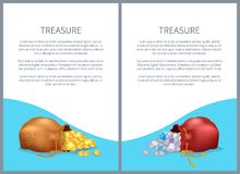 Treasure Posters with Bags Shiny Diamonds and Gold. Treasure posters with bags, shiny diamonds and heap of gold coins. Ancient precious treasures in bunches Royalty Free Stock Image