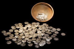 Treasure pot with ancient gold and silver coins money Royalty Free Stock Photo