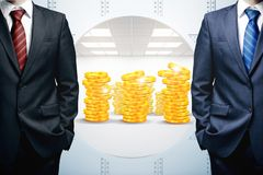 Treasure protection concept. Two unrecognizable businessmen standing next to open bank vault with golden coins. Treasure protection concept. 3D Rendering Royalty Free Stock Image