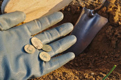 Treasure retrieved metal detecting Stock Images