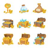 Treasure And Riches Set Of Graphic Design Elements Royalty Free Stock Images