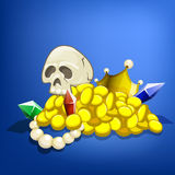 Treasure and the skull. Vector illustration Stock Image