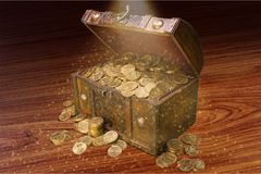 Treasure. Gold chest coin money wealth pirate Royalty Free Stock Photography