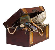 Treasure trunk. Wooden treasure trunk with jewellery, isolated over white background Stock Image