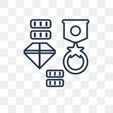Treasure vector icon isolated on transparent background, linear royalty free illustration