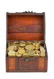 Treasure: wooden chest with golden Stock Photo