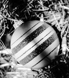 Treasured Memories. Black and White. Silvered. Chirstmas Bulb Royalty Free Stock Photography