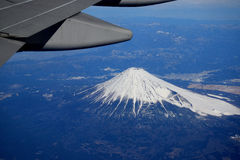 Treasured window seat, a glimpse of Mount Fuji Stock Photos