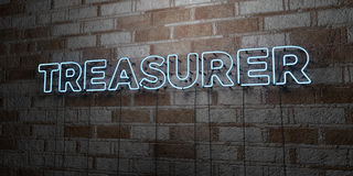 TREASURER - Glowing Neon Sign on stonework wall - 3D rendered royalty free stock illustration. Can be used for online banner ads and direct mailers Royalty Free Stock Photography