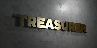 Treasurer - Gold text on black background - 3D rendered royalty free stock picture. This image can be used for an online website banner ad or a print postcard Stock Images