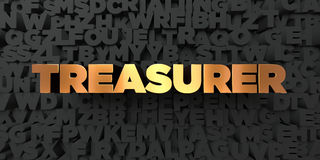 Treasurer - Gold text on black background - 3D rendered royalty free stock picture. This image can be used for an online website banner ad or a print postcard Stock Photos