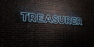 TREASURER -Realistic Neon Sign on Brick Wall background - 3D rendered royalty free stock image. Can be used for online banner ads and direct mailers Royalty Free Stock Photos