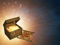 Treasures. Wooden box with treasures and pirate map royalty free illustration