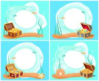 Treasures in Chest Sea Water Vector Illustration. Treasures placed in chest, placed down at bottom of sea, water with fish, coins and diamond, starfish and pearl Royalty Free Stock Photos