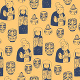 Treasures from Japan. Hand drawn seamless  pattern with cute traditional objects Stock Photo