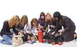 Treasures of ladies' handbags Stock Photo