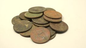 Treasures From Metal Detecting (25 cent USA Quarters). Here are some of the collection of quarter dollars from metal detecting stock video