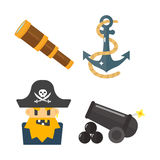 Treasures pirate adventures toy accessories icons vector set. Stock Image