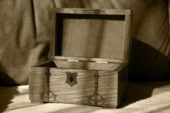 Treasures for the taking ... Open treasure chest stock photography