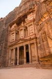 The treasury or Al Khazna, it is the most magnificant and famous. Facade in Petra Jordan Royalty Free Stock Photography