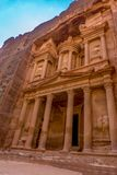 The treasury Al Khazneh carved into the rock at Petra, Jordan. Petra is one the New Seven Wonders of the World Stock Photos