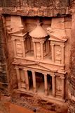 The Treasury (Al Khazneh) in Petra from the top. Stock Images