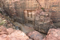The Treasury in the  Ancient city of Petra, Jordan as seen from Royalty Free Stock Photos