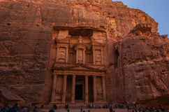 The Treasury. The Beautiful Treasury carved in mountain rocks in Petra in Jordan Stock Images