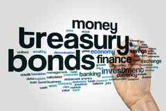 Treasury bonds word cloud. Concept on grey background Royalty Free Stock Image