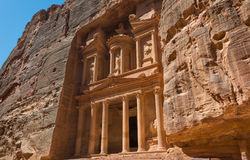 The treasury building carved into the rock face at Petra in Jor Royalty Free Stock Image