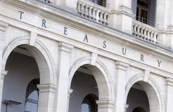 Treasury Building sign, central reserve bank budget finance Royalty Free Stock Image