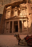 Treasury at City of Petra with perfect light and shadows, Jordan Royalty Free Stock Photo