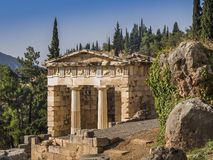 Treasury of Delphi, Greece. The reconstructed Treasury of Delphi, built to commemorate their victory at the Battle of Marathon Stock Images