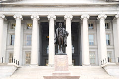 Treasury Dept. The Treasury Department in Washington DC with statue of Alexander Hamilton in front of stairs Royalty Free Stock Photo