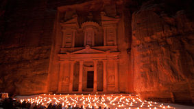 Treasury facade of Petra. Illuminated by candles Stock Images