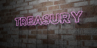 TREASURY - Glowing Neon Sign on stonework wall - 3D rendered royalty free stock illustration Stock Photo