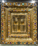 Cross framed with precious stones at the exposition of Munich Residence Stock Image