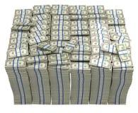 Treasury. Large bundle of US dollars. Isolated Royalty Free Stock Photography