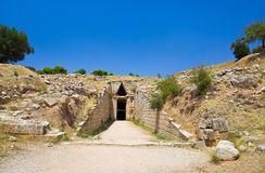 Treasury in Mycenae town, Greece Royalty Free Stock Images
