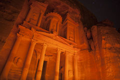 The Treasury at night,  Petra, Jordan. The Treasury at night, Al Khazneh, Nabatean ruins, Petra, Jordan Royalty Free Stock Photo