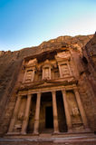 Treasury at Petra. The Treasury, an ancient tomb carved from sandstone cliffs at Petra Royalty Free Stock Photos