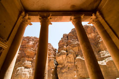 Treasury at Petra. View from the steps of the Treasury, an ancient tomb carved from solid rock, at Petra Stock Photos