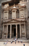 The Treasury in Petra. The treasury is a building facade carved from solid rock in Petra, Jordan. Petra is one of the seven wonders of the world Stock Photography
