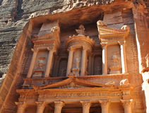 Treasury in Petra. Treasury in ancient city of Petra in Jordan Stock Photo