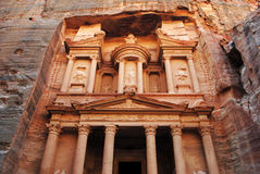 The Treasury, Petra. Al Khazneh (The Treasury; Arabic: الخزنة) is one of the most elaborate temples in the ancient Jordanian city of Petra. As with most Royalty Free Stock Image