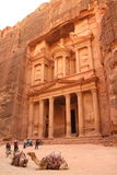 Treasury in Petra, Jordan. The Treasury (Al Khazneh in Arabic) is the best known monument of ancient city of Petra, Jordan. It dates from the 1st century AD. It Royalty Free Stock Image