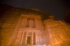 The Treasury at Petra Jordan lit under the stars. During the night walk Royalty Free Stock Photography