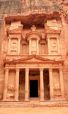 The treasury at Petra, Lost rock city of Jordan. Petra's temples, tombs, theaters and other buildings are scattered over 400 square miles. UNESCO world Stock Images