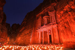 The Treasury, Petra By Night. An Ancient City of Petra, Al Khazn Stock Image