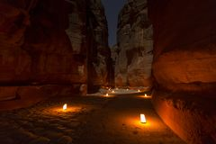 The Treasury, Petra By Night. An Ancient City of Petra Royalty Free Stock Photos